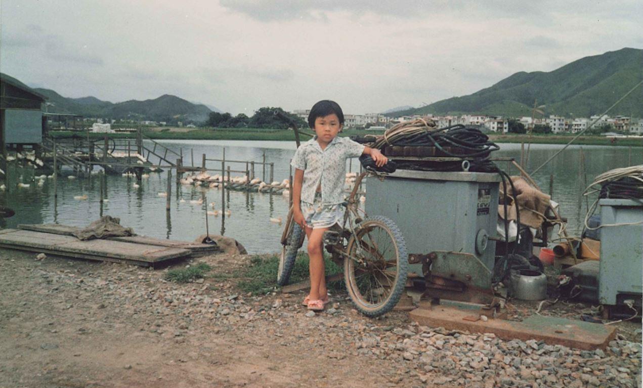 鴨仔魚塘和小女孩(陳國新提供)